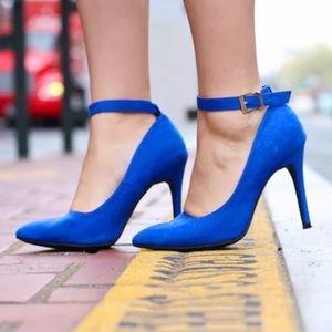 BLUE ANKLE STRAP PUMPS